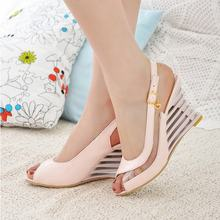High Wedge Heel Sandals Ankle Strap Buckle Open Toe Transparent Shoes Women's Summer Shoes Patent PU Sexy Summer Brand New Shoes(China (Mainland))