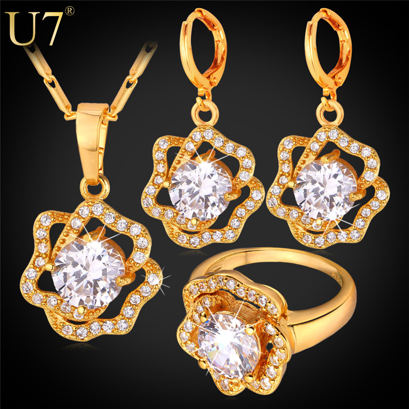 U7 Cubic Zirconia Wedding Jewelry Sets For Women 18K Gold /Platinum Plated Rose Flower Earrings Ring Necklace Set For Women S727
