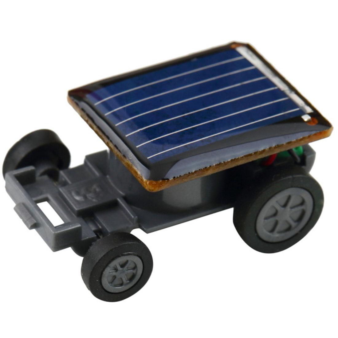 Smallest Funny Mini Solar Powered Robot Auto Car Toys for Children Kids - Black(China (Mainland))
