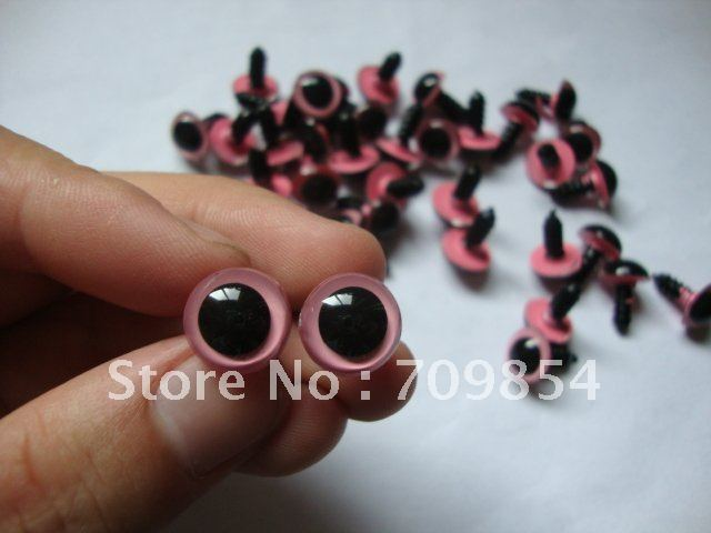 free shipping!!! 500pcs/lot diam12mm pink PLASTIC SAFETY ERES with spacer toy eye toy findings#005