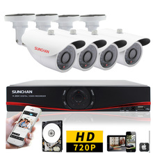 SUNCHAN 8CH 1200TVL AHD DVR Kit CCTV System 720P 8CH Video Recorder 1.0MP Outdoor Security Camera Home Video System 1TB HDD