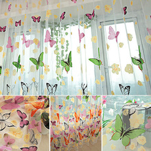 Free Shipping 200x100cm Colorful Butterlfly Printed Curtain Sheer Organdy For Door Window  Screen Curtain New Promotion