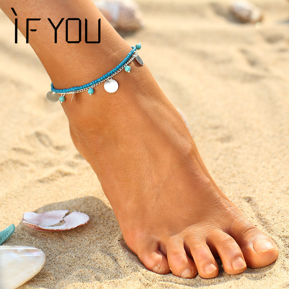 Womens sandals reviews - If You Women Anklets For Women Chaine Beach Bohemian Barefoot Sandals Enkelbandje Cyan Natural Stone Beads Boho Foot Jewelry