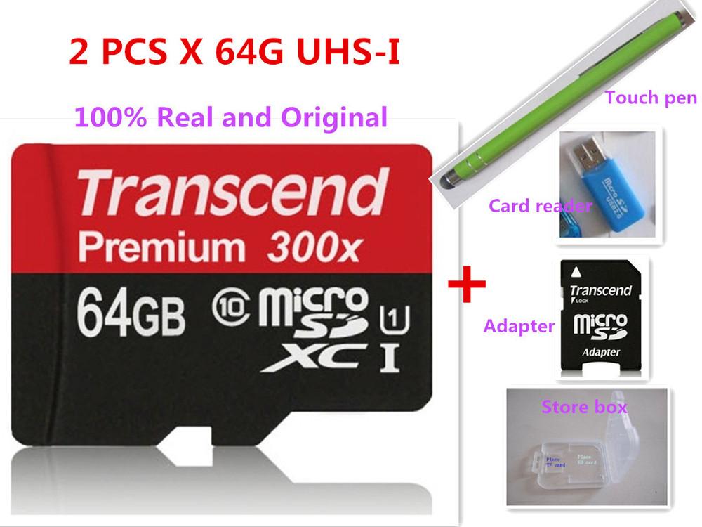 (} Hot Sales 100% Real Transcend 64GB 64 G Micro SD SDXC MicroSDXC Card Class 10 C10 UHS-I TF Flash Memory 64GB--F