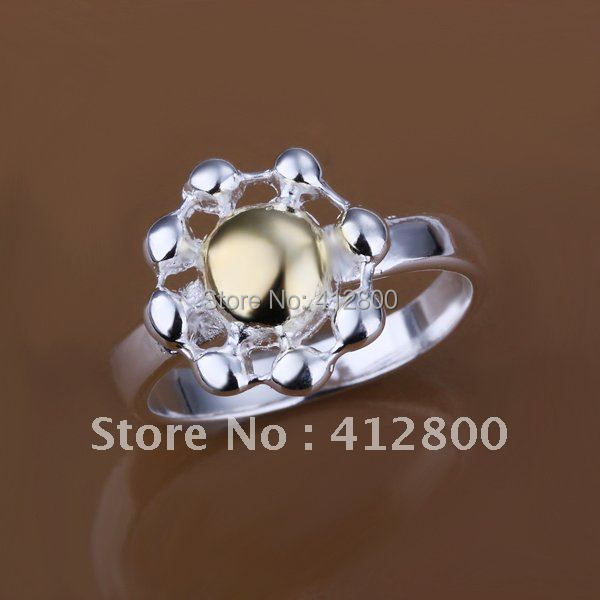 Brand New 925 Silver Fashion Colour Separation Chrysanthemum Rings Free Shipping zs-112(China (Mainland))