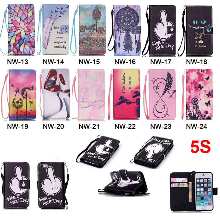 Luxury Painting PU Leather Case For iPhone 5 5G 5s Fashion Flip Wallet Stand Cover Handbag With Hand Strap Cell Phone Cases(China (Mainland))