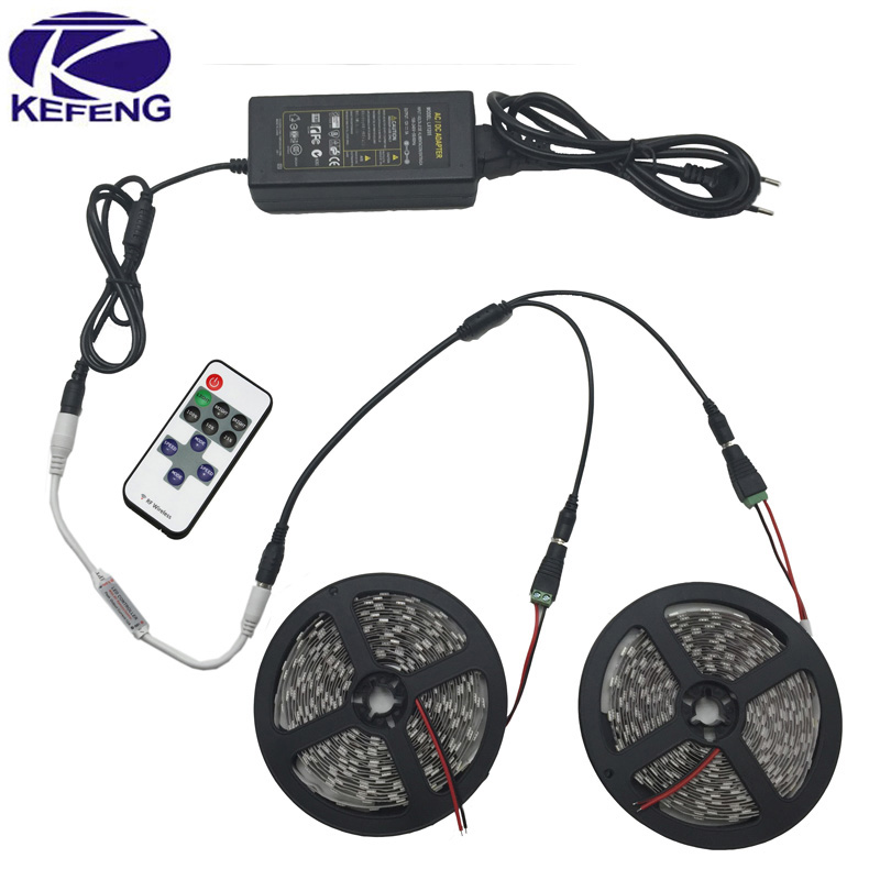 Decoration 10M RGB White Warm white Blue Red LED Strips 5050 SMD Flexible Light Set + Remote Controller + DC 12V 5A Power Supply(China (Mainland))