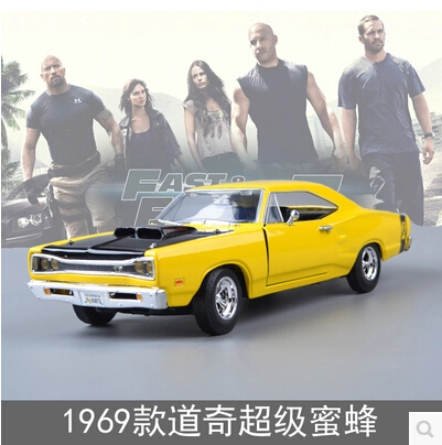 Fast & Furious 1969 Dodge Challenger MOTOR MAX 1:24 Paul Simulation alloy car model American sports car(China (Mainland))