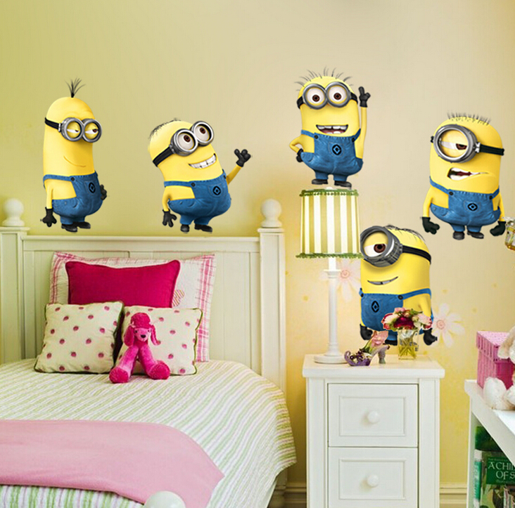 DESPICABLE ME 2 wall stickers Vinyl Art decals room kid decor MINIONS Removable Wall Stickers Free Shipping(China (Mainland))