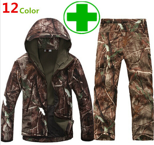 Camouflage hunting clothes Shark skin soft shell lurkers tad v 4.0 outdoor tactical military fleece jacket+ uniform pants suits(China (Mainland))