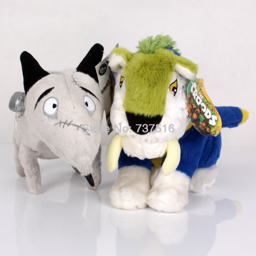 New Arrival The Croods 11'' MACAWNIVORE Plush Tiger & 14'' FRANKENWEENIE SPARKY Dog Stuffed Animals Plush Baby Toys 2Pcs of set(China (Mainland))