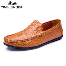 2016 Handmade Genuine Leather Men Shoes Moccasins Shoes Men Flats Casual Men Loafers Srocodile Soft leather Shoes High Quality