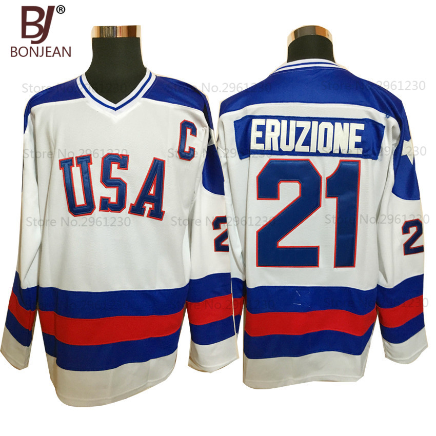 BONJEAN USA Team Ice Hockey Jersey 1980 Miracle On Ice Team USA 21# Mike Eruzione Stitched Winter Sport Wear White(China (Mainland))