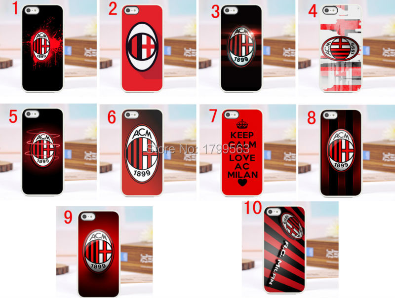Hot 10pcs/lots Ac milan hard White Skin case cover for iphone 5 5S 4 4g 4S 5C Wholesale +free shipping(China (Mainland))