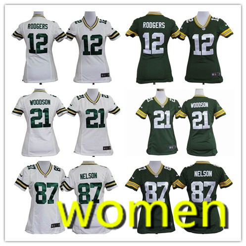 Women's high quality free shipping green bay packers 12 # 21 # 18 # 50 # 80 # 88 # 85 # 90 #(China (Mainland))