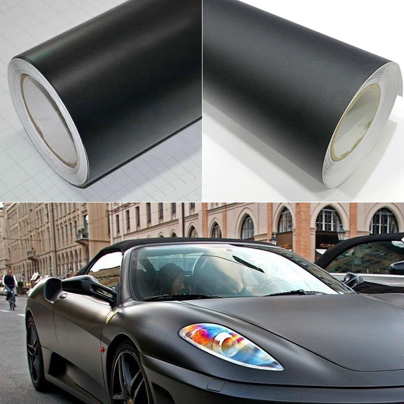 1x Matte Black Vinyl Film Wrap Car DIY Sticker Vehicle Decal 3D Bubble Free 1W1 2016 New(China (Mainland))