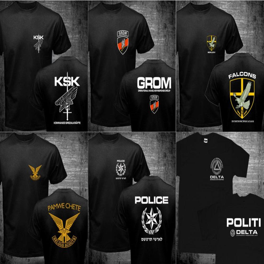 Mens Germany KSK Norway Norwegian Israel Rhodesian Zimbabwe SPQR Roman Rome JW GROM Poland Serbia Police Special Forces T Shirts(China (Mainland))