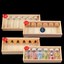 4 Styles Creative Glass Vials Gift Box Transparent Mini Bottles Housed in Wooden Box (China (Mainland))