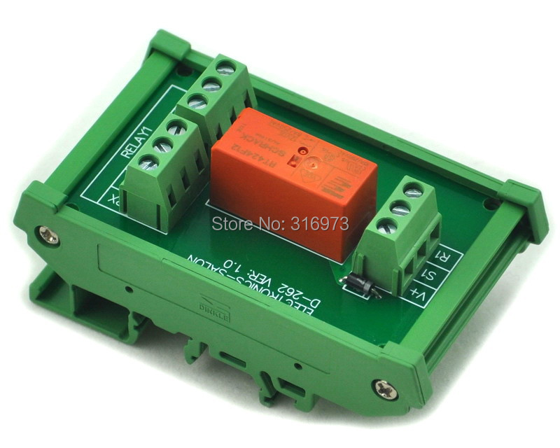 DIN Rail Mount Passive Bistable/Latching DPDT 8A Power Relay Module, 12V Version<br><br>Aliexpress