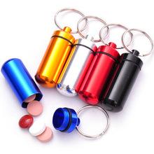 10Pcs/Lot Mini Portable Pill Box Case Medicine Bottle Aluminum Alloy Waterproof Capsule Box Case Keychain Holder Free Shipping(China (Mainland))