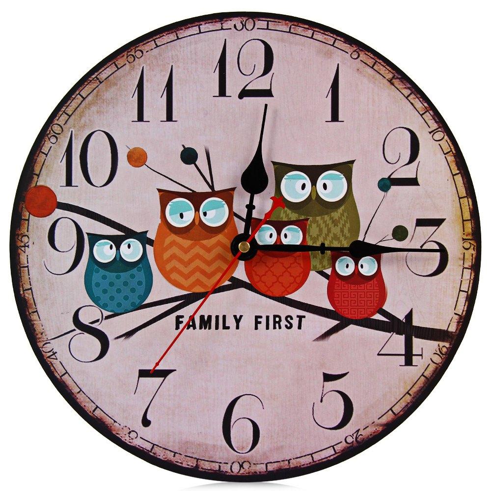 Creative European Style Kitchen Wall Clocks Vintage Forest Owl Round Wood Wall Clock Quartz Bracket For Home Decoration Decor(China (Mainland))
