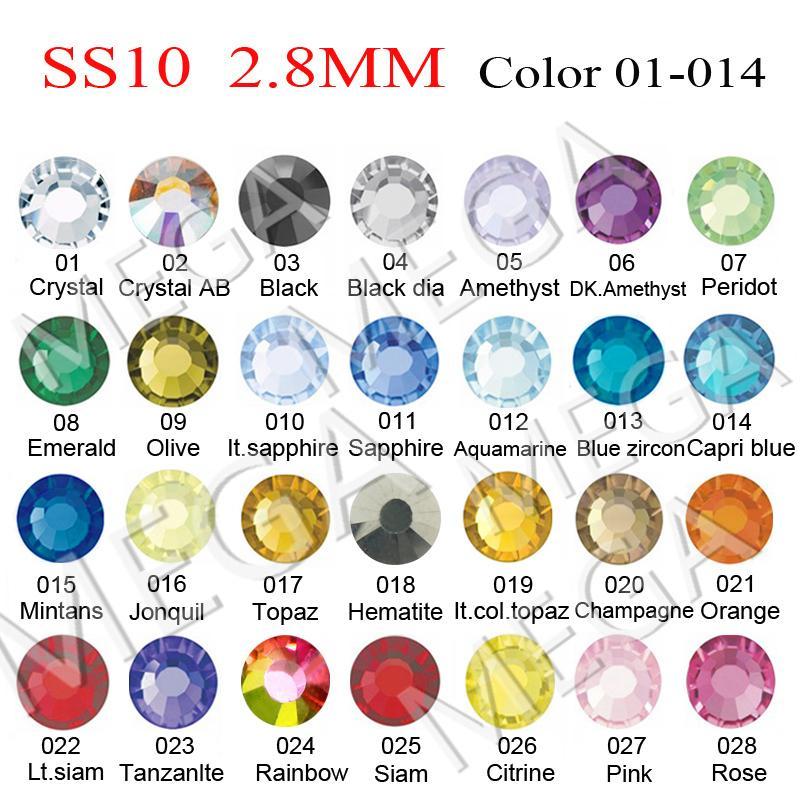 NEW SS10 (2.7-2.9MM) Strass Crystal ab DMC Hot Fix FlatBack Rhinestones ,DIY iron heat glass HotFix crystal stones 1440pcs/Bag(China (Mainland))