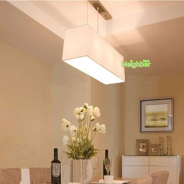 Modern Rectangular Linen Chandelier Suspension lamp ...