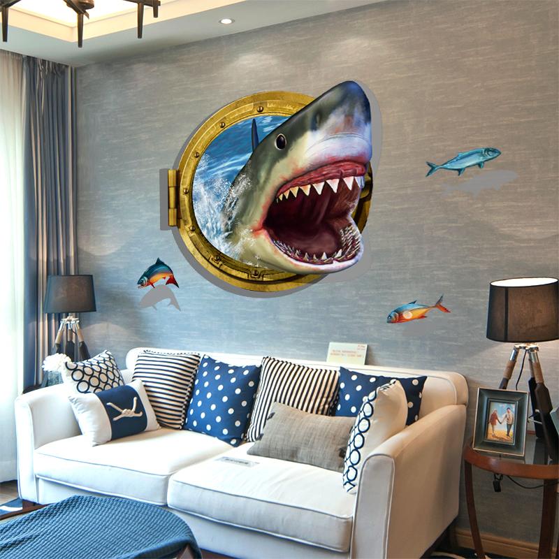 3D Wall Sticker Cartoon Shark Animal W86*H61 Home Wall Decor Wall Sticker Animal Kids Room Decorative Vinyl Stikers(China (Mainland))