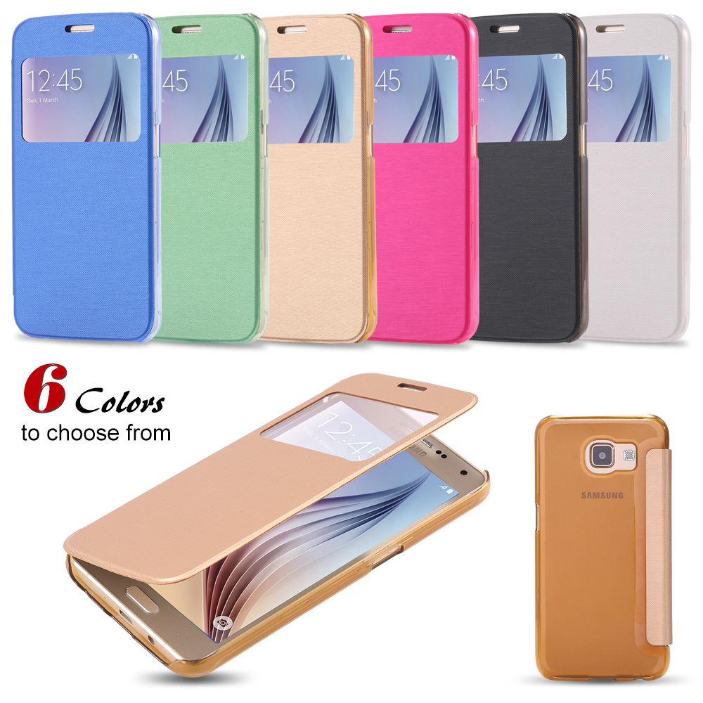 New Fresh Ultral Slim Flip Case Cover For Samsung Galaxy S6 Stylish Open Window View Plastic Back Casual Phone Fudas(China (Mainland))