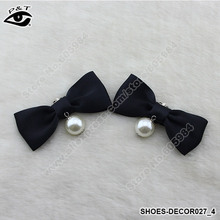1Pair/Lot Bow Pearl Fabric Clip-On Shoe Decor Clips for Wedding Shoes Hair/Bag Jewelry 7x3.2CM Free Shipping(China (Mainland))