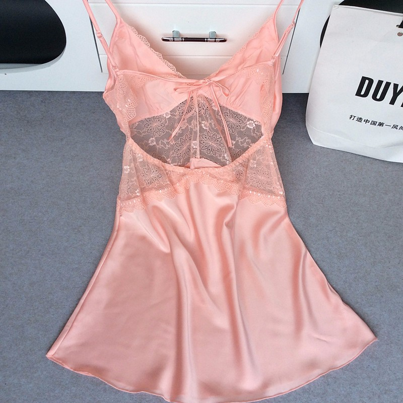Ladies Sexy Satin Nighties Sleeveless Nightgown V-neck Night Robe Dress Lace Nightdress Women Soft Sleepshirt Nightwear Women
