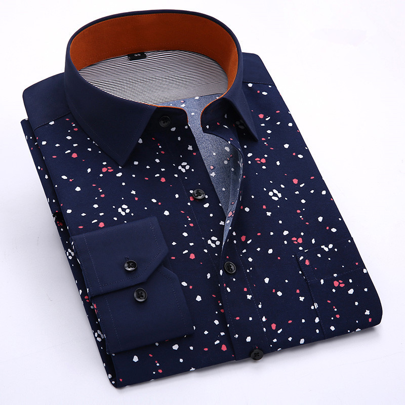 2015 fashion men printed dress shirt long sleeve cheap for Mens printed long sleeve shirts