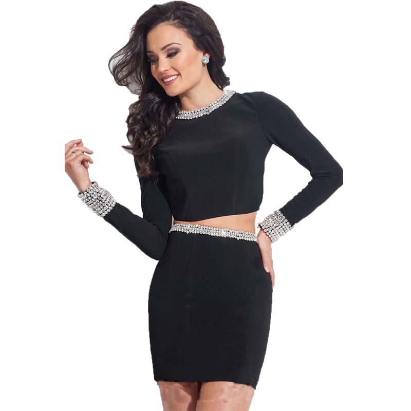 Short negro vestido de fiesta 2015 de manga larga de gasa vestido corto de dos piezas