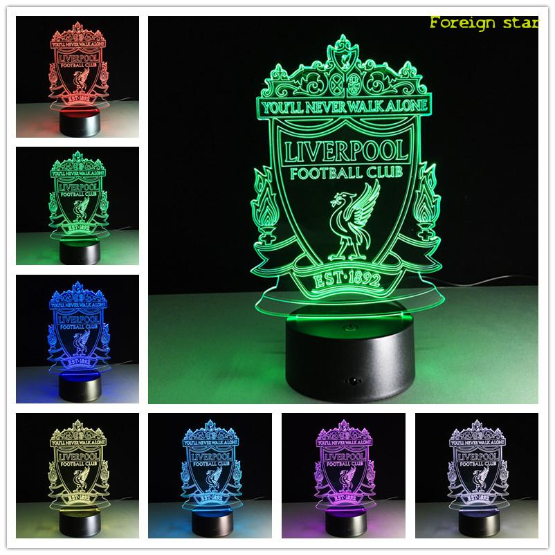 innovative Football 3d Night Lights For Liverpool Football Club Seven Colors Rgb Led Touch Lamp As Creative Gifts Lampara Usb(China (Mainland))