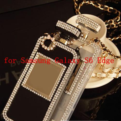 Rhinestone Diamond Bling Perfume Bottle Case For Samsung Galaxy S6 Edge G9250 Luxury Soft TPU HandBag with Chains Crystal Cover()