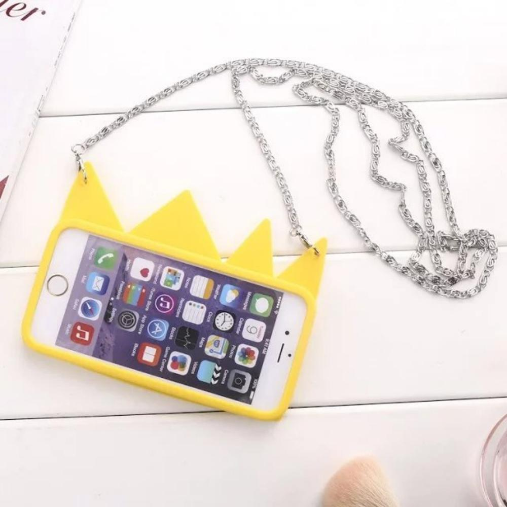 2016 New Yellow Queen 3D Crown Silicone phone case For iphone 6 6s 6plus Soft Handbag Rubber cases + Long Strap cover fundas i6