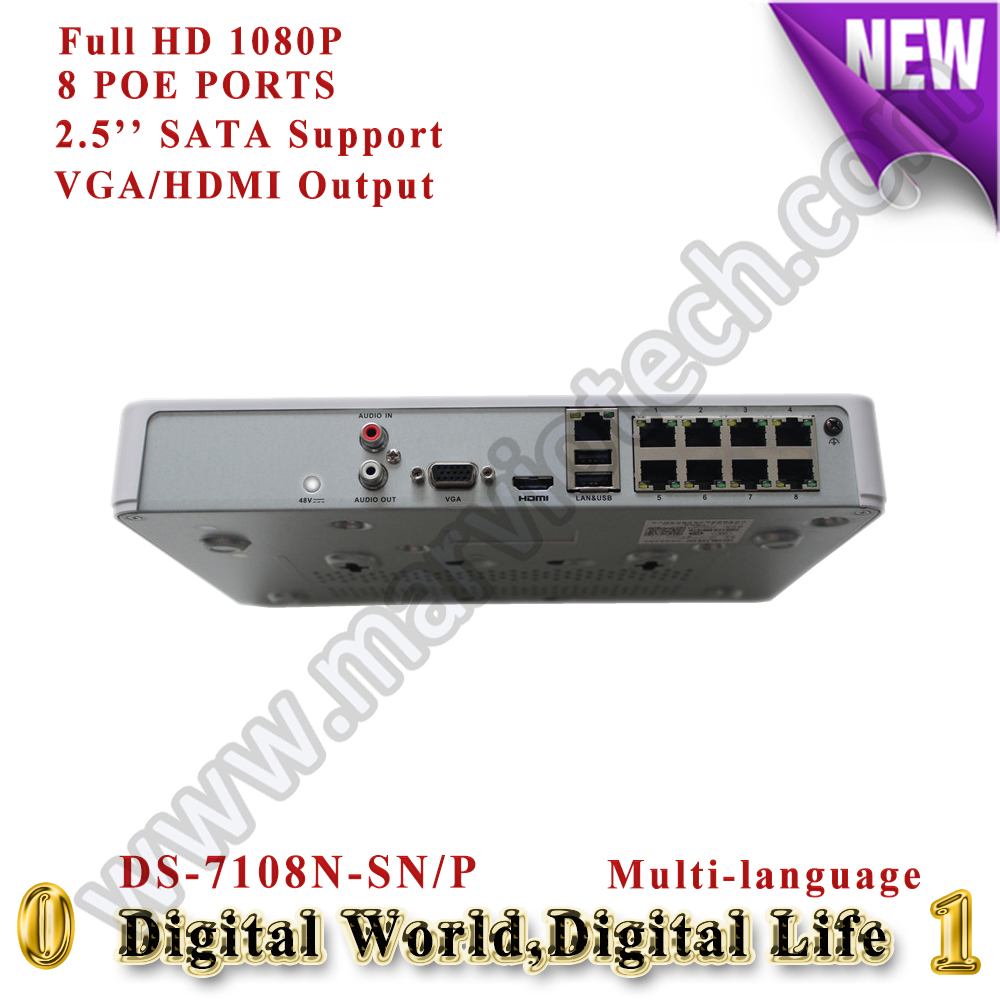 Фотография 8ch mini nvr 8ch canais PoE Network video recorder HD 1080P digital video recorder DS-7108N-SN/P for cctv ip camera poe