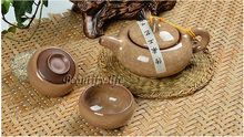 7pcs luxurious Ice Crack teaset Kong fu Teapot china tea cup porcelain coffee set light yellow