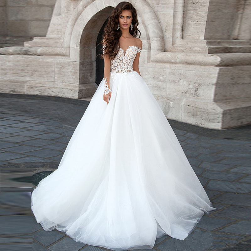 New Arrival Sweetheart sexy Open back A Line long sleeve Wedding Dresses Court Train 2016 elegant Applique Bride Dress(China (Mainland))