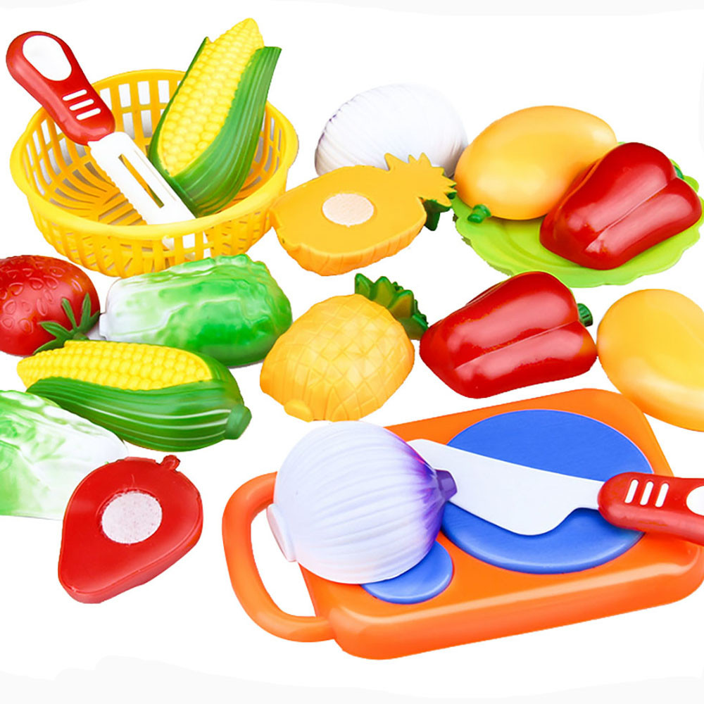 12PC /Set Plastic Kitchen toy Fruit Vegetable Cutting Kids Pretend Play Toy Educational Cook Cosplay kitchen toys(China (Mainland))