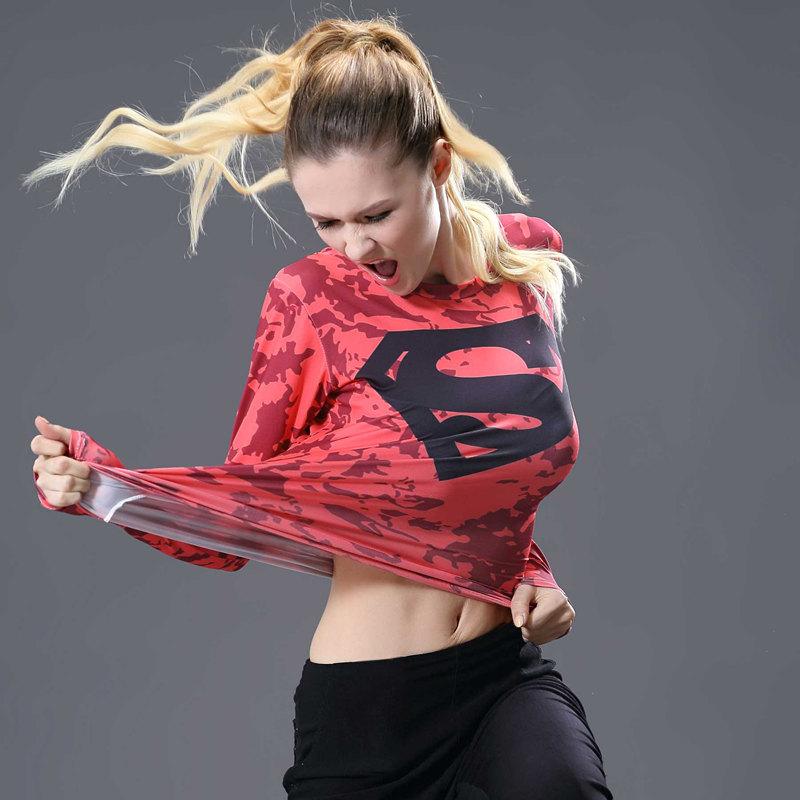 Batman VS Superman 3D Printed T Shirt Women Compression Shirt Ladies Raglan Long Sleeve Cosplay Tops Gyms Costume Female Clothes