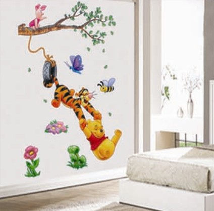 Free shipping kids gift cheap removable vinyl winnie the pooh baby wall stickers 3d cartoon wall decals chidlren bedroom decor(China (Mainland))