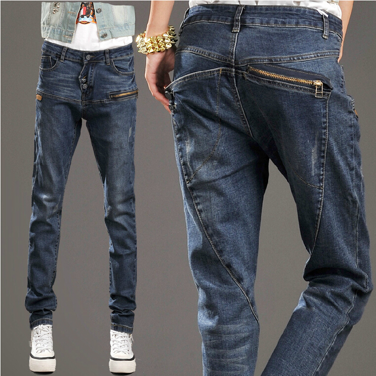 2014 New Autumn Elastic Slim Denim Pencil Long Design Women Jeans Mid Waist Pencil Pants Trousers Skinny Jeans Women DF68C140926