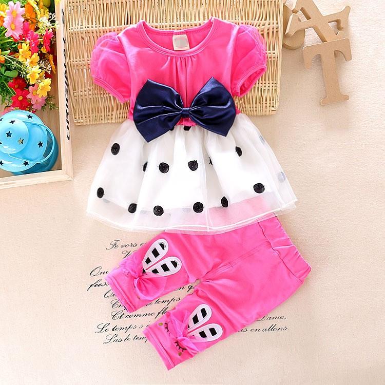 2016 summer toddler baby girls clothing sets girls summer set fashion tops shorts bow 2pcs kid dots sport suit set tracksuit set(China (Mainland))