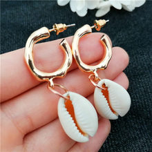 2019 New Natural Sea Shell Earrings For Women NE+EA Fashion Gold Color Cowrie Shell Jewelry Summer Beach Jewelry Lady Pendientes(China)