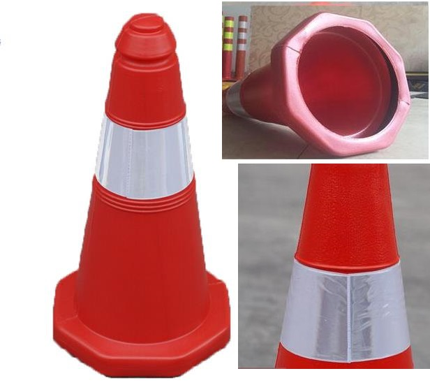 50cm height Reflective Safety Cones Warning Reflective Plastic Road Cone