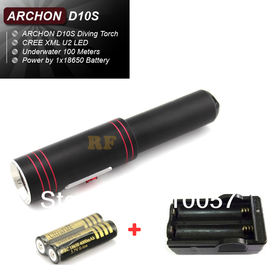 Professional,ARCHON D10S CREE XM-L U2 led diving flashlight torch kit,860 lm,under water 100m,with battery&charger(China (Mainland))