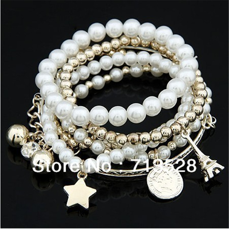 fashion tower Imitation pearl major suit coin combinations Bracelet Bangle - Caier Jewelry store