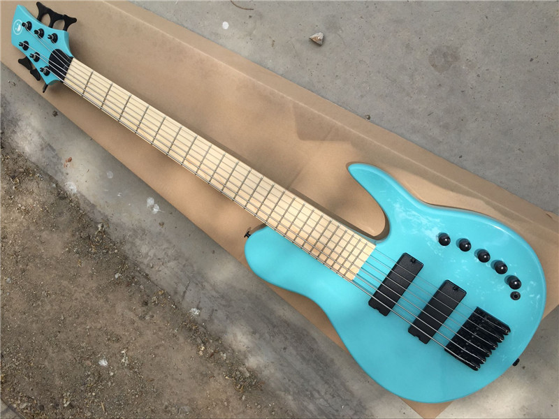 Factory custom 6 strings 24 frets ash body blue electric bass guitar with black hardware,active circuit,can be changed(China (Mainland))