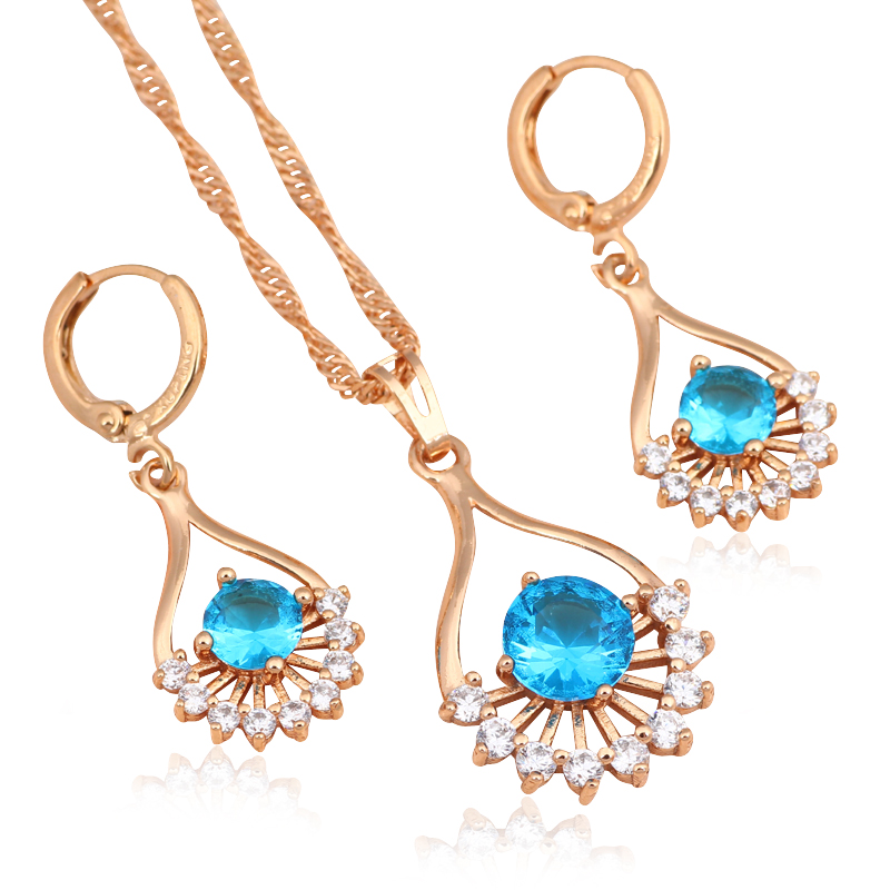 Luxury Gift Blue Topaz 18k k gold plated AAA Zirconia Crystal Gorgeous Fashion Jewelry Sets Earrings Necklace JS573A